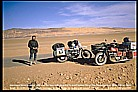 meeting a swizz guy with his wife, who travelled with a 'Moto Guzzi' combination, crossing the SAHARA South- North, coming from West-AFRICA_winter 1987 / 88_during my motorcycle trip to KENYA