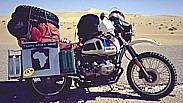 my first Africa-motorcycle 'BMW R80GS Paris-Dakar' ... on the second  big AFRICA-motorcycle-trip ... always too much luggage on it ... Eastern ALGERIA 1986, close to Hassi Messaoud_Jochen A. Hübener