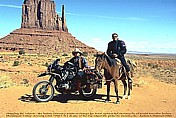 1996_U S A_ARIZONA_Monument Valley_Jochen meets native Indian Navajo_he wants to change his horse against my bike_what did we two laugh about this situation ... afterwards_my motorcycle-trip around the world 1995-96_Jochen A. Hübener